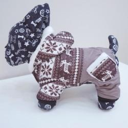 Minkštas, šiltas kombinezonas šuniukams, su žiemos motyvais