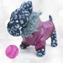 Minkšta, vėjo neperpučiama striukė šuniukui (tamsiai alyvinės spalvos)