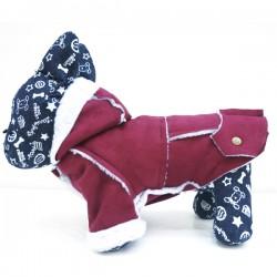Elegantiškas paltukas - kailinukai šuniukui (bordo spalvos)