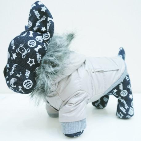 Minkšta, vėjo neperpučiama striukė šuniukui (šviesiai pilkos spalvos)