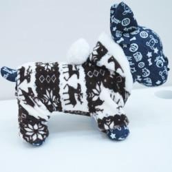 Minkštas, šiltas (tamsiai rudos spalvos) kombinezonas šuniukams, su žiemos motyvais